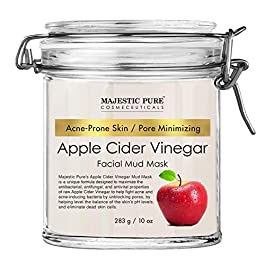 Apple Cider Vinegar Facial Mask by Majestic Pure – Face Mud Mask for Pore Minimizing and Acne Prone Skin – Promotes…