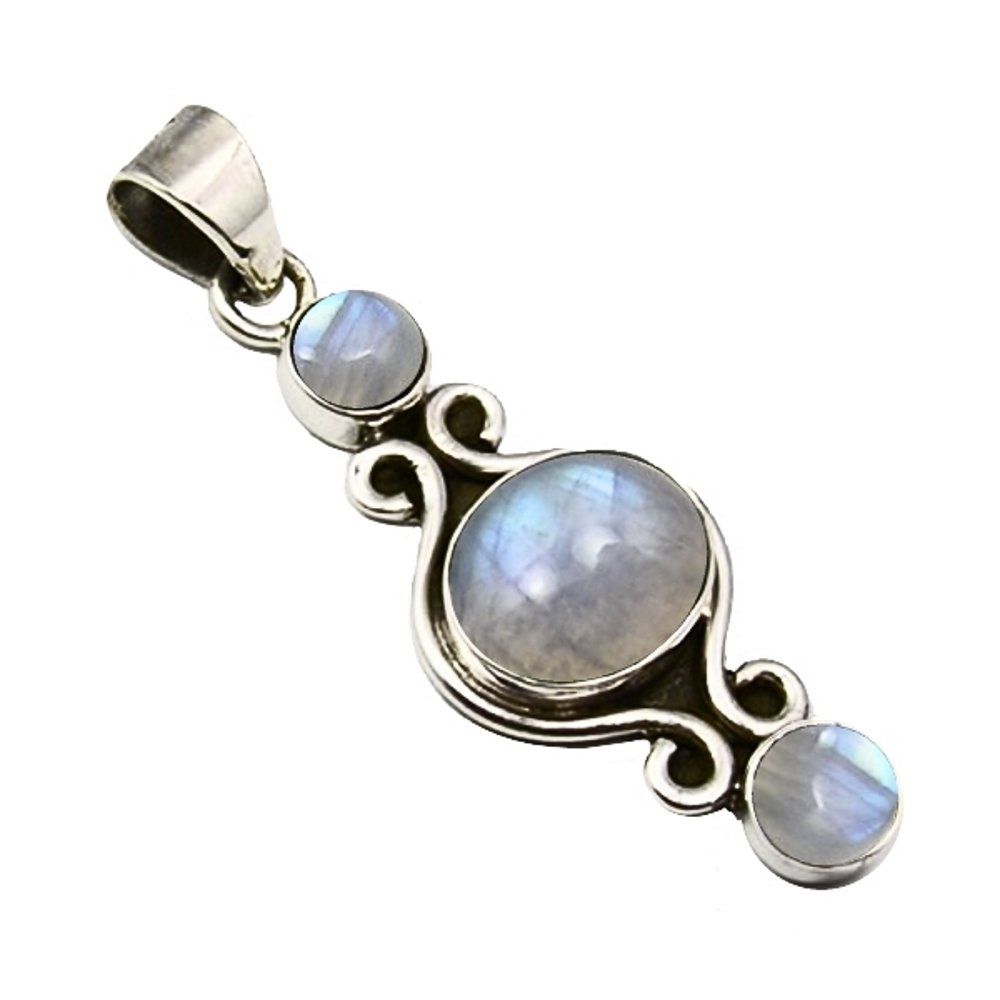 Unique Exklusiver Jugendstil Ketten Anhä nger echter Mondstein eingefasst in 925 Sterling Silber nickelfrei 7.8 Karat Juweliers- Qualitä t PE093
