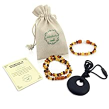 ALVABABY Amber Teething Necklace & Bracelet or Anklet for Babies (Unisex) - Anti Flammatory Drooling & Fussiness Reduce Amber Teething Bracelet or Anklet GNB04-CA
