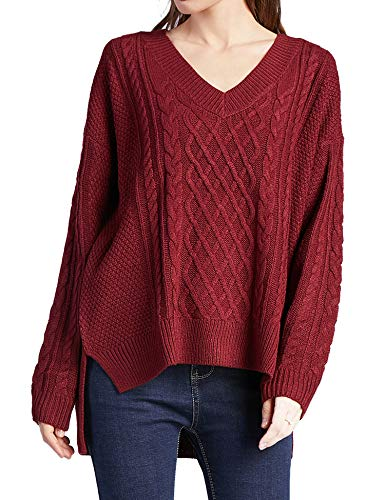 Women Oversized Cable Knit Red Sweaters Loose V Neck Long Sleeve Fall Winter Pullover Tops Jumpers S -