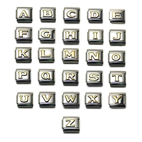 Dolceoro 9mm Italian Modular Letter Initial Alphabet Charm Link