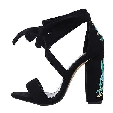 6457d4a020ce AJPJ(TM)❤️Women Sandals Ankle Strap Block Heel Sandals Ladies Strappy  Buckle Shoe