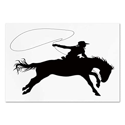 Large Wall Mural Sticker [ Cartoon,Silhouette Of Cowboy Riding Horse Rider  Rope Sport Country