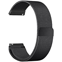 TOROTOP 20mm Milanese Loop Mesh Stainless Steel Metal Bracelet Strap with Unique Magnet Lock, No Buckle Needed for Withings Steel HR (40mm Case - 20mm Strap) (Milanese Black)