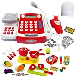 Toy Cash Register for Kids with Scanner - Microphone - Calculator - Mini Cooking Pots and Pans & Cutting Play Food Set - and Chef Hat! Play Restaurant or Grocery/Supermarket Cashier and Teaching Math