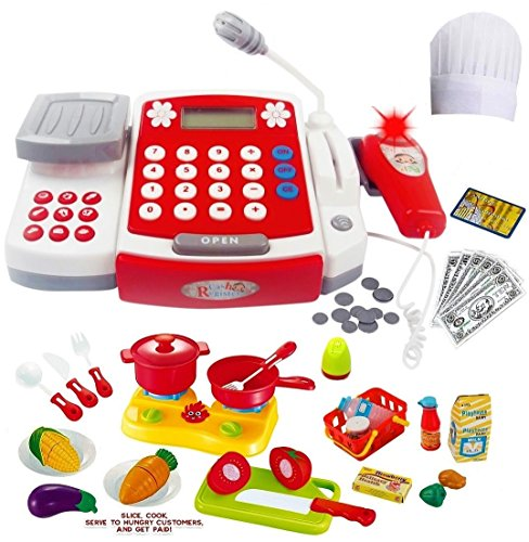 Toy Cash Register for Kids with Scanner - Microphone - Calculator - Mini Cooking Pots and Pans - Cutting Play Fruit & Chef Hat. To Play Restaurant/Grocery/Supermarket Cashier or Teaching/Learning Math