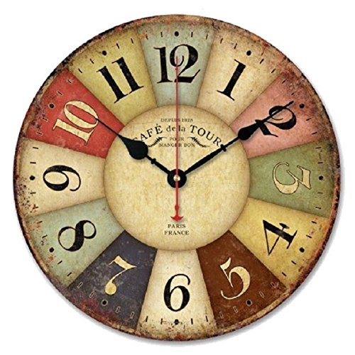 Fullkang Vintage Colourful France Paris Country Tuscan Style Wood Wall (Colourful Dial)