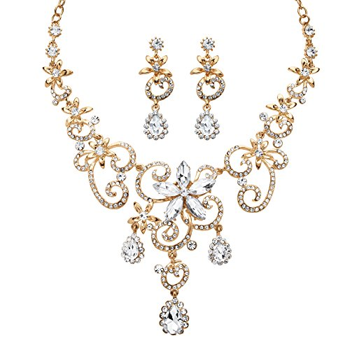 Palm Beach Jewelry Pear-Cut White Simulated Crystal Gold Tone Scroll Necklace and Earrings Set 17