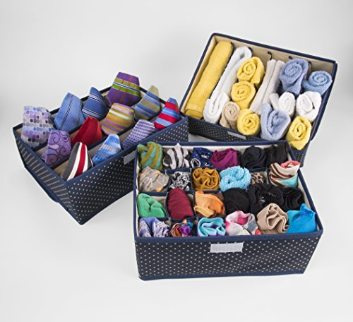 Drawer organizers—elegantly designed set of three Oxford cloth storage boxes with lids—separate lingerie, socks, ties and other items in neat compartments. Comes with bonus washing bag. by Stamp Falls Home and Gifts