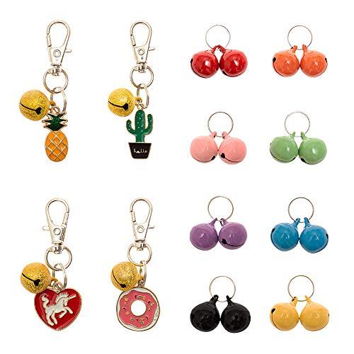 BINGPET Bells for Cat Collar, 24 Pcs Colorful Charm Training Pet Pendant Accessories