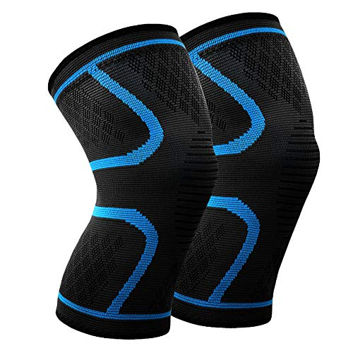 Knee Sleeves Pair - Effective and Comfortable- Best Knee Support Braces for Arthritis, ACL, Running, Pain Relief, Injury Recovery, Basketball and More Sports - Both Men and Women (L)