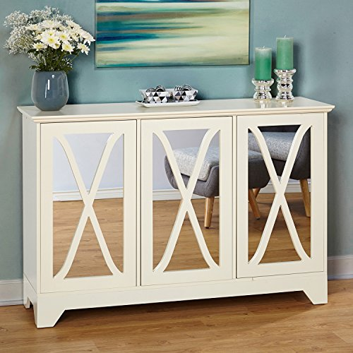 ModHaus Living Modern Vintage 3 Mirrored Door Buffet Console Table with Adjustable Shelf – Includes Pen (White) For Sale