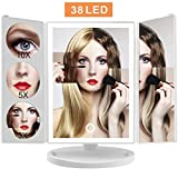 Makeup Vanity Mirror with Lights, 2018 Version Lighted LED Cosmetic Mirror with 38 Lights and 10X 5X 3X 1X Magnification, Touch Screen Tri-fold Tabletop Mirrors with Stands, Batteries or USB Powered Review