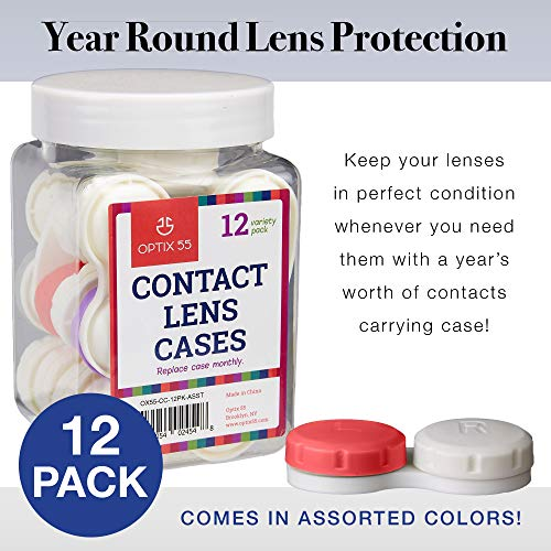 Contact Lens Cases, 12 Pack – Assorted Separate Colors Eye Contact Lense Cases for Left/Right Eyes – Durable, Compact, Portable, Bulk Supply Contact Lens Storage Holder- by Optix 55
