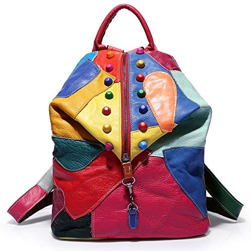 Chicas para Mujer Mochila Costura De Cuero Hit Day Mochilas Escolares Mochilas De Viaje De Gran Capacidad,Colorful-34*16*40cm Colorful