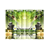 your-fantasia Japanese Bamboo Fountain Spa Stones Flow Water Window Curtain Kitchen Curtain Two Pieces 26 x 39 inches