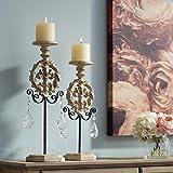 Dahlia Studios Piccoli White Wash Pillar Candle Holders Set of 2