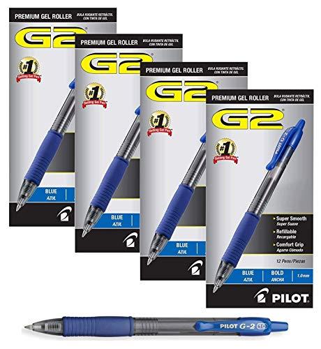 Pilot G2 Retractable Premium Gel Ink Roller Ball Pens Bold Pt (1.) 4 Dozen Box Blue ; Retractable, Refillable & Premium Comfort Grip. (4 Dozen Box) by Pilot (Image #1)