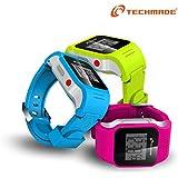 Techmade - Reloj T-watch con SIM y GPS Celeste