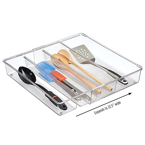 "mDesign Expandable Kitchen Drawer Organizer for Silverware, Spatulas, Gadgets - 16"" x 12"" x 3"", Clear"