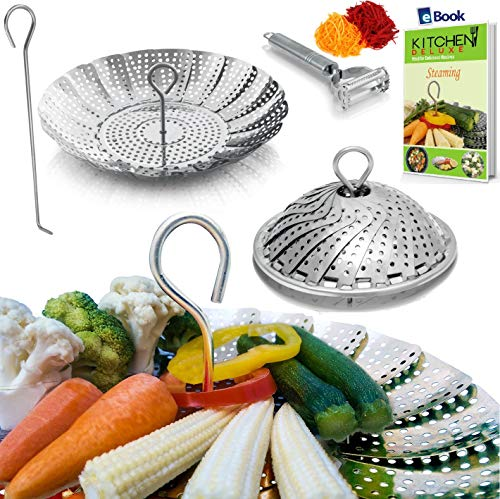 Vegetable Steamer Basket Complete Bundle by Kitchen Deluxe -