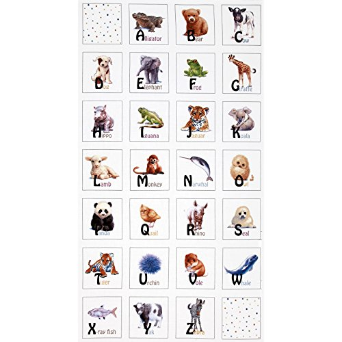 Animal Friends Soft Book 24 In. Panel White Fabric - Friends Fabric Panel