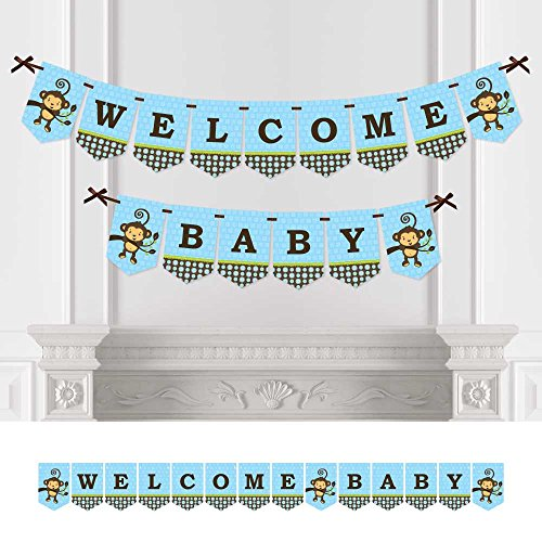 Big Dot of Happiness Blue Monkey Boy - Baby Shower Bunting Banner - Blue Party Decorations - Welcome Baby ()