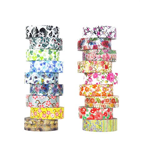 Washi Tape set 18 rolls by Tanpopo Art -Floral Collection |