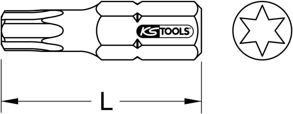 KS Tools 911.2303 Embout de vissage Torx 7 Entra/înement 6,35 mm Longueur 25 mm
