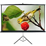 "SNOWHITE 60'' Tripod Projector Screen Luxurious 58 x 58"" viewing area 1:1 format Tripod stand & carrying handle Quick & easy setup Adjustable Multi-Aspect Ratio Pull Up Ultra Lightweight"
