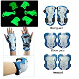 quemu Kid's Protective Gear Set Glow in the Dark Elbow Knee Wrist Pads 6pcs for BMX/Skateboard/Scooter/Skate 2-12 Years