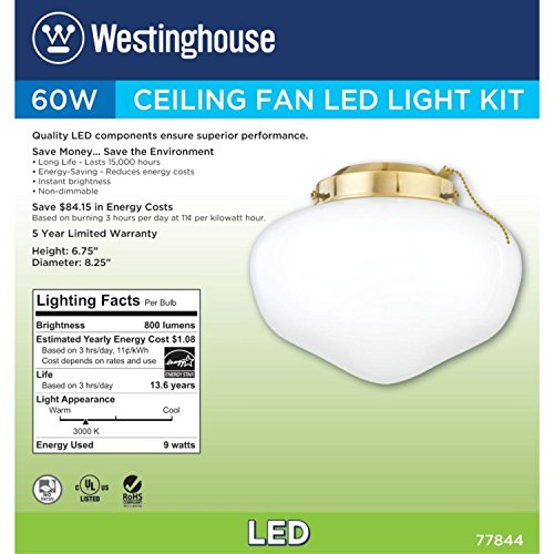 Westinghouse 7784400 LED Schoolhouse Indoor/Outdoor Energy Star Ceiling Fan Light Kit, Polished Brass Finish with White Opal Glass by Westinghouse (Image #3)