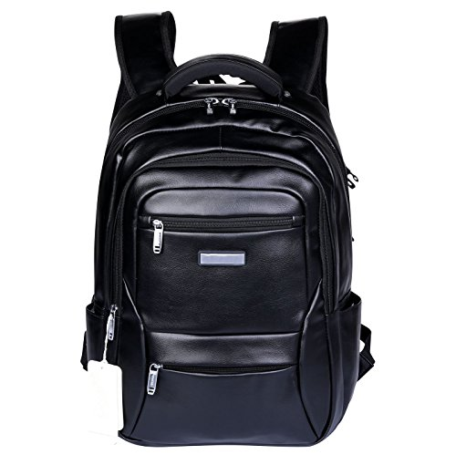 VIDENG Leather Backpack Lightweight Travel Rucksack School Bookbag for 17 Inch Laptop, (Black-bvl)