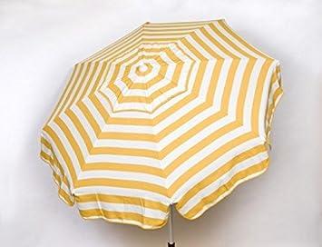Heininger 1327 DestinationGear Italian Yellow and White 6 Acrylic Striped Beach Pole Umbrella