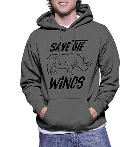 HAASE UNLIMITED Men's Save The Winos Hoodie Sweatshirt (Charcoal, Large) ()