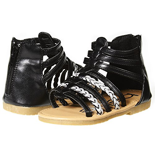 bebe Girls Toddler/Little Kid Strappy Ankle High Back Zipper Gladiator Sandals With Braided Accent Size 6 Black/Silver Ankle Accent