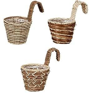 pajeetm XL valla de cuerda, cuerda de maíz valla de ratán con cesta de tejido de cesta y un gancho de hierro de maíz para colgar de.