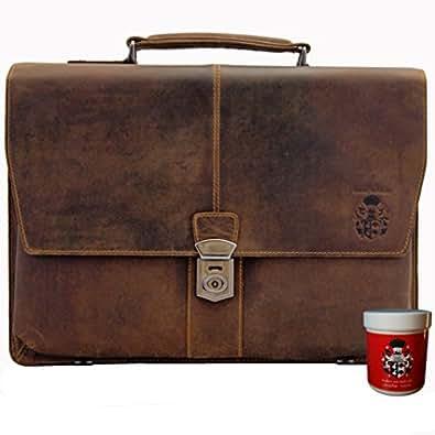BARON de MALTZAHN Cartera Maletín Portafolios PLATON de cuero marrón + Cuidado del cuero