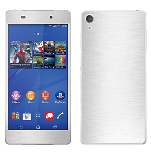 Decalrus - Sony Xperia Z3v SILVER Texture Brushed Aluminum skin skins decal for case cover wrap BAXperiaZ3vSilver