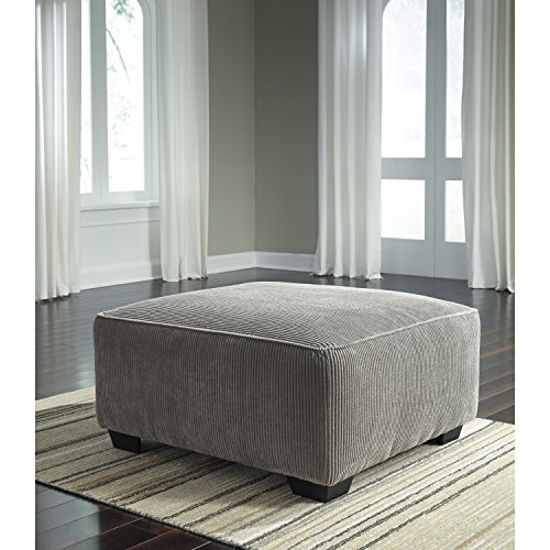 Corduroy Signature - Flash Furniture Signature Design by Ashley Jinllingsly Oversized Accent Ottoman in Gray Corduroy