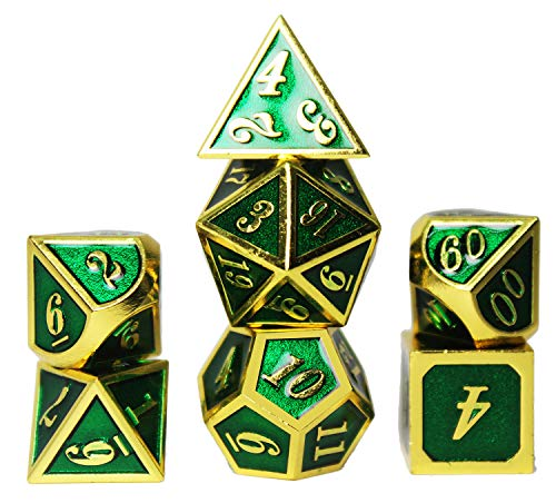 Glitter Emerald Green Paint Shiny Zinc Alloy Metal Dice Set 0-9 20 Gold Number For Role Playing Game Starter with Case, Standard D4 D6 D10 D12 and D20 Sided Complete 7 Die Piece rpg Dice Sets, 10 12 D