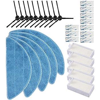 Electropan Replacement Consumable Accessories Parts 10pcs Side Brush + 5pcs Hepa Filter + 5pcs Mop Cloth + 10pcs Magic Paste for ILIFE V3 V3s V5 V5s V5s pro Robot Vacuum Cleaner