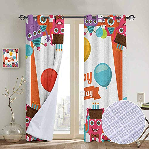 Modern Farmhouse Country Curtains Birthday,Funny Happy Monsters Holding Chocolate Cakes Party Horns Kids Celebration Design, Multicolor,Design Drapes 2 Panels Bedroom Kitchen Curtains 84
