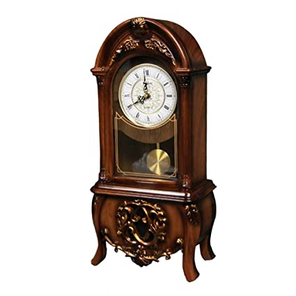 Family Fireplace Watches Retro Silent Mantel Clock, Desktop Shelf with Battery Suitable for Living Room