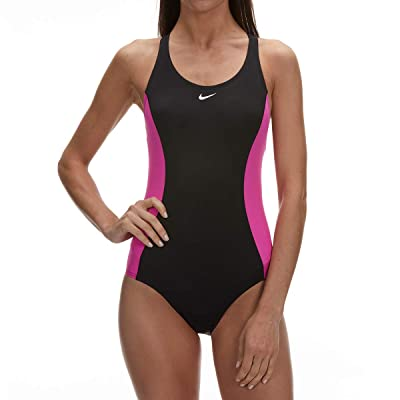 .com : Nike Women'S Power Back Color-Block One-Piece Swimsuit (Large, Black/Pink) : Clothing