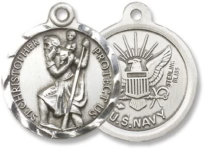 bliss Sterling Silver Saint Christopher Pendant Navy Military Medal 7//8 Inch