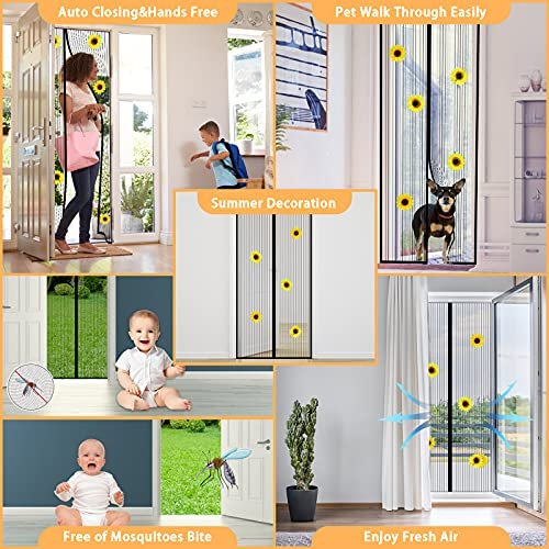 36x83 Inch Magnetic Screen Door Screen, Full Frame Magic Tape Mesh Door Cover for Front Door and Home Outside Kids Pets Walk ,Durable Polyester Middle Opening Screen Doors with 5 Sunflower Decoration…
