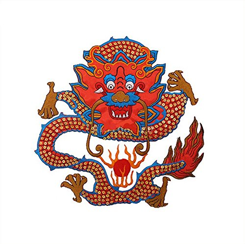 Ximkee Large Dragon Embroidery Appliques Sew Iron on Patches-Red ()