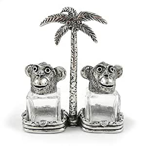 Monkey Pewter and Glass Salt and Pepper Shakers