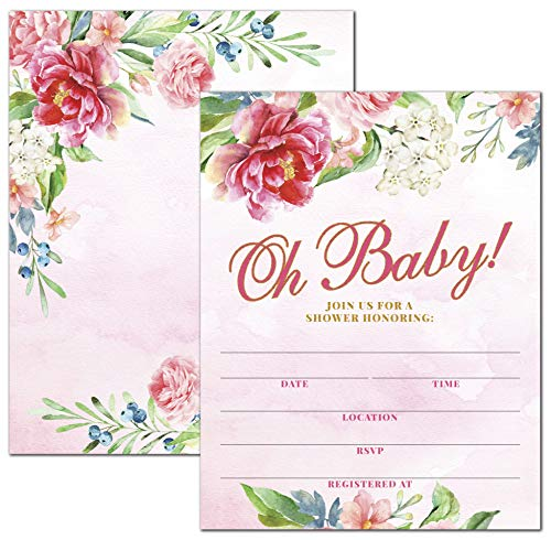 Deluxe Oh Baby Pink & Gold Watercolor Floral Baby Shower Invitations with Envelopes, Shabby Chic, Boho, Rustic, Vintage, Cottage Decor Invites 20 Large Double Sided 5 x 7 Cards